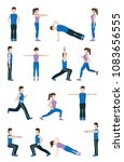 people stretching body | Shutterstock .eps vector #1083656555