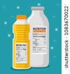oil and milk bottles with... | Shutterstock .eps vector #1083670022