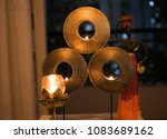 decorative golden candle holder | Shutterstock . vector #1083689162