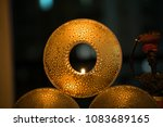 decorative golden candle holder | Shutterstock . vector #1083689165