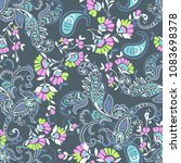 cute paisley with flowers  ... | Shutterstock .eps vector #1083698378