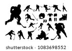 set of hockey player silhouette | Shutterstock .eps vector #1083698552