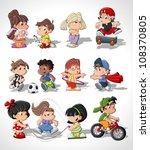 Stock vector cute happy cartoon kids playing 108370805