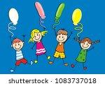 happy kids and balloons  vector ... | Shutterstock .eps vector #1083737018