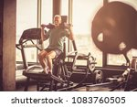 active senior man using weights ... | Shutterstock . vector #1083760505
