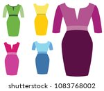 woman dresses fashion | Shutterstock .eps vector #1083768002