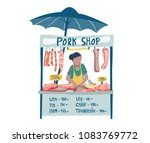 doodle woman vendor selling... | Shutterstock .eps vector #1083769772