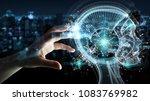 businesswoman on blurred... | Shutterstock . vector #1083769982