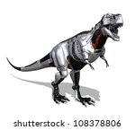 Modern technology goes prehistoric with this robot dinosaur - 3D render. - stock photo