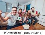 happy friends or football fans...   Shutterstock . vector #1083791846
