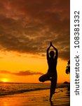 yoga women silhouette  working... | Shutterstock . vector #108381332