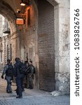 Small photo of Jerusalem, Israel - December 19 2017: The soldiers is on duty at Lion Gate in Old Jerusalem in order to beef up the security due to the recent tension.