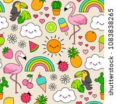 cute tropical summer elements... | Shutterstock .eps vector #1083838265