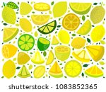 lemon set  collection of vector ... | Shutterstock .eps vector #1083852365