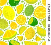 seamless background with lemons | Shutterstock .eps vector #1083853415