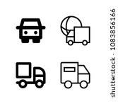 set of 4 lorry outline icons...   Shutterstock .eps vector #1083856166