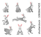 Stock vector set of cute grey rabbits in various poses isolated on white background hare characters sitting and 1083867455