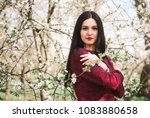 beautiful young brunette with... | Shutterstock . vector #1083880658