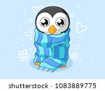 freezing cartoon penguin with a ... | Shutterstock .eps vector #1083889775