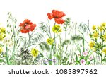 hand drawn floral horizontal... | Shutterstock . vector #1083897962