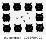 black cat shows his emotions | Shutterstock .eps vector #1083909722