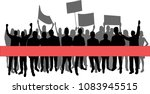 group of protester silhouette... | Shutterstock .eps vector #1083945515