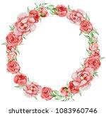 peonies wreath hand painted...   Shutterstock . vector #1083960746