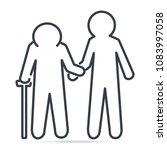 man helps elderly patient icon. ... | Shutterstock .eps vector #1083997058