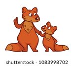 mother fox teaches small... | Shutterstock .eps vector #1083998702