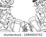 hand drawn grill and beer menu... | Shutterstock .eps vector #1084003742