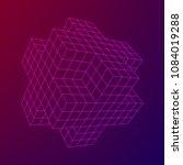 wireframe necker cube. cube of... | Shutterstock .eps vector #1084019288