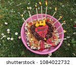 birthday cake with candles  | Shutterstock . vector #1084022732