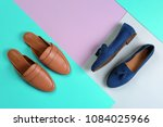 different female shoes on color ... | Shutterstock . vector #1084025966