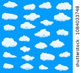 clouds set isolated on blue... | Shutterstock .eps vector #1084033748