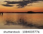 Egret Silhouette At Sunset Wit...