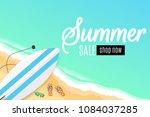 summer sale. surfboard  beach... | Shutterstock .eps vector #1084037285