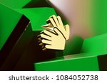 golden sign language icon with...