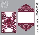 laser cut wedding invitation... | Shutterstock .eps vector #1084063532