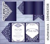 die laser cut wedding card... | Shutterstock .eps vector #1084063538