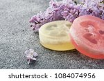 handmade soap scrub and lilac...   Shutterstock . vector #1084074956