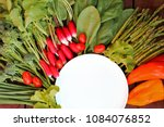 plate and radish  spinach... | Shutterstock . vector #1084076852