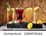 summer drinks with fruits | Shutterstock . vector #1084078166
