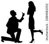 marriage proposal silhouette | Shutterstock .eps vector #1084081052