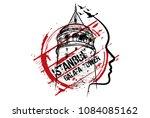galata tower. istanbul  turkey... | Shutterstock .eps vector #1084085162