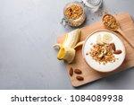 tasty breakfast with yogurt ... | Shutterstock . vector #1084089938