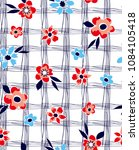 flowers pattern with decorative ...   Shutterstock .eps vector #1084105418