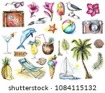 watercolor set with camera ... | Shutterstock . vector #1084115132