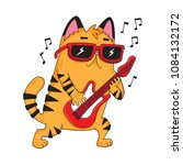 a cute cartoon rock star cat... | Shutterstock .eps vector #1084132172