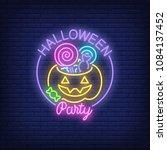 halloween party neon sign.... | Shutterstock .eps vector #1084137452
