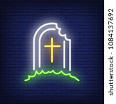 tomb neon sign. grave with... | Shutterstock .eps vector #1084137692